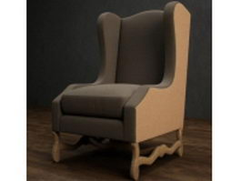 Upholstered wingback chair 3d model