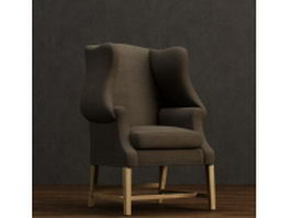 Straight back wing chair 3d model