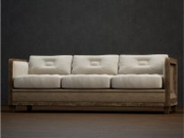 Classic three cushion couch 3d model