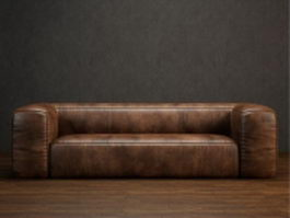 Three seater leather couch 3d model
