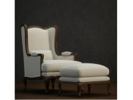Fabric wingback chair and ottoman 3d model