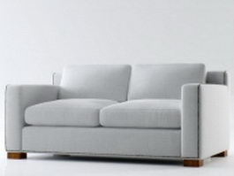 White two-seater upholstered loveseat 3d model