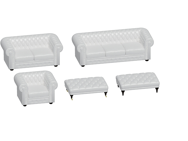 Chesterfield Sofa Set 3d Model 3dsmax 3ds Files Free Download