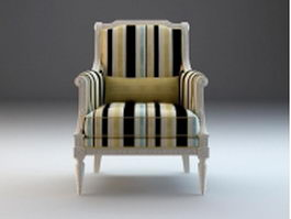 Upholstered French wing back chair 3d model