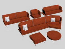Orange modern fabric sofa set 3d model