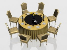 Classic round banquet table and chairs 3d model