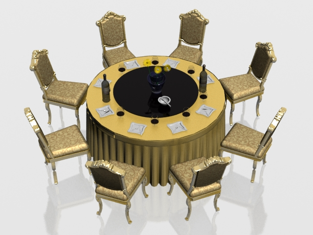classic round banquet table and chairs 3d model 3dsmax files free