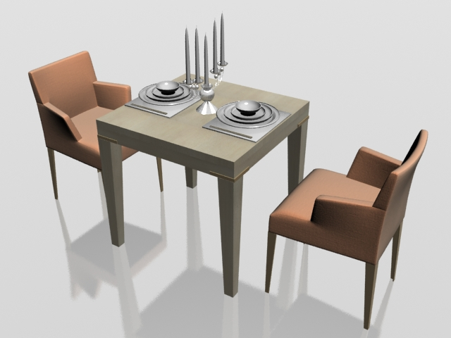 Dining Table For Two Part - 26: Two Seater Dining Set 3d Model