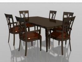 6 seater wood dining set 3d model