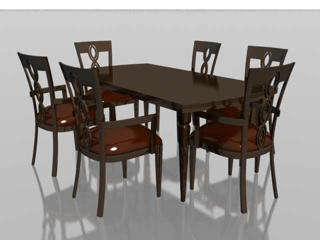 6 Seater Wood Dining Set 3d Model 3dsmax Files Free