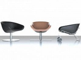 Modern scoop chair set 3d model