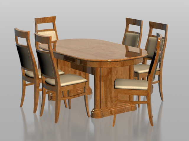 6 seater dining set 3d model 3dsmax files free download ...