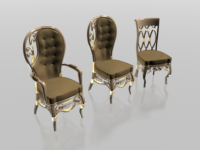 Upholstered Classic Chair Set 3d Model 3dsmax 3ds Files
