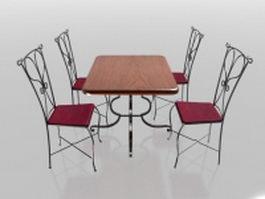 4 seater metal dining sets 3d model