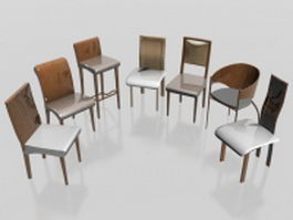 7 wooden chairs collection 3d model