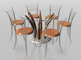 6 seater glass and metal dining sets 3d model