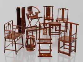 Collection of Chinese traditional chair 3d model