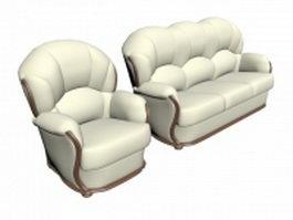 Upholstered white classic luxury sofa 3d model