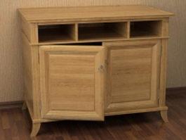Wood console cabinet 3d model