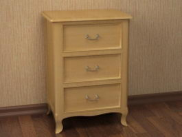 3 drawer nightstand 3d model