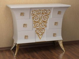 Classic 3 drawers chest 3d model