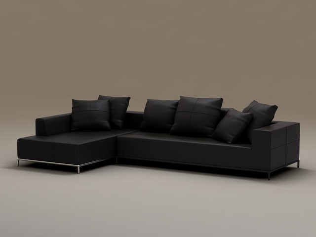 Terrific 2 Piece Leather Sectional Sofa 3D Model Cadnav Machost Co Dining Chair Design Ideas Machostcouk