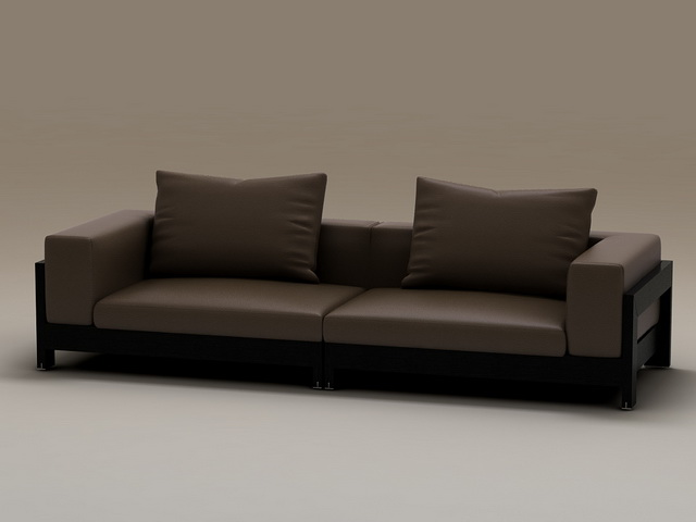 Wood Base Two Seater Cushion Couch 3d Model 3dsmax Files