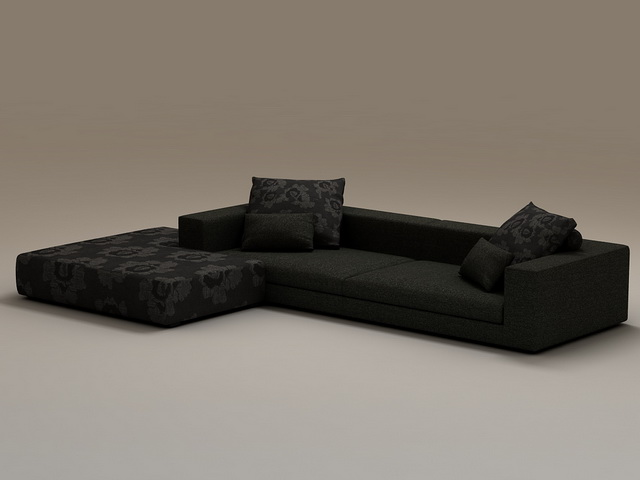 Black fabric sectional sofa 3d model 3dsmax files free download
