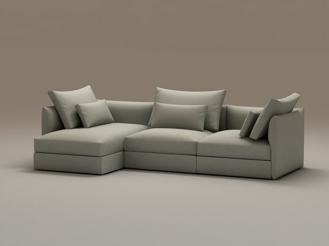 Super 3 Piece Sectional Sofa With Chaise 3D Model Cadnav Machost Co Dining Chair Design Ideas Machostcouk