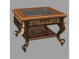 Classical wood coffee table 3d model