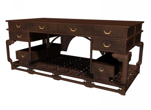 Chinese Antique Office Desk 3d Model