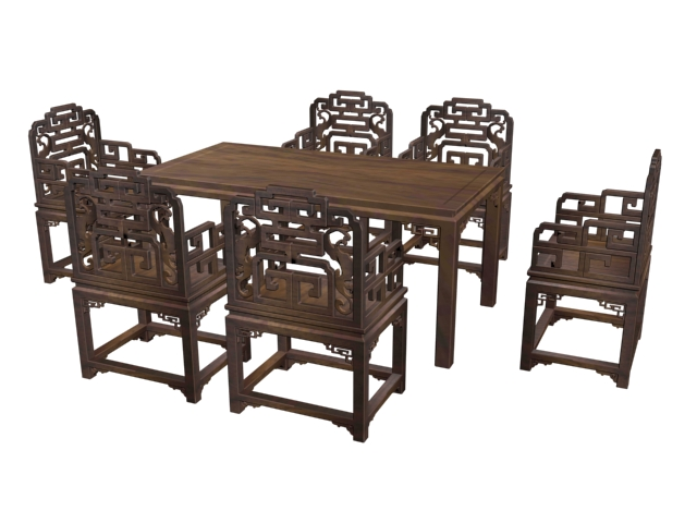 6 Seat Chinese Antique Dining Set 3D Model