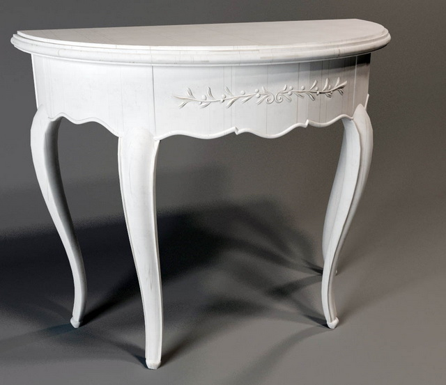 half round classical console table 3d model