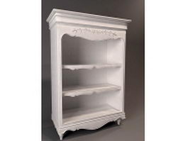 White antique bookshelf 3d model