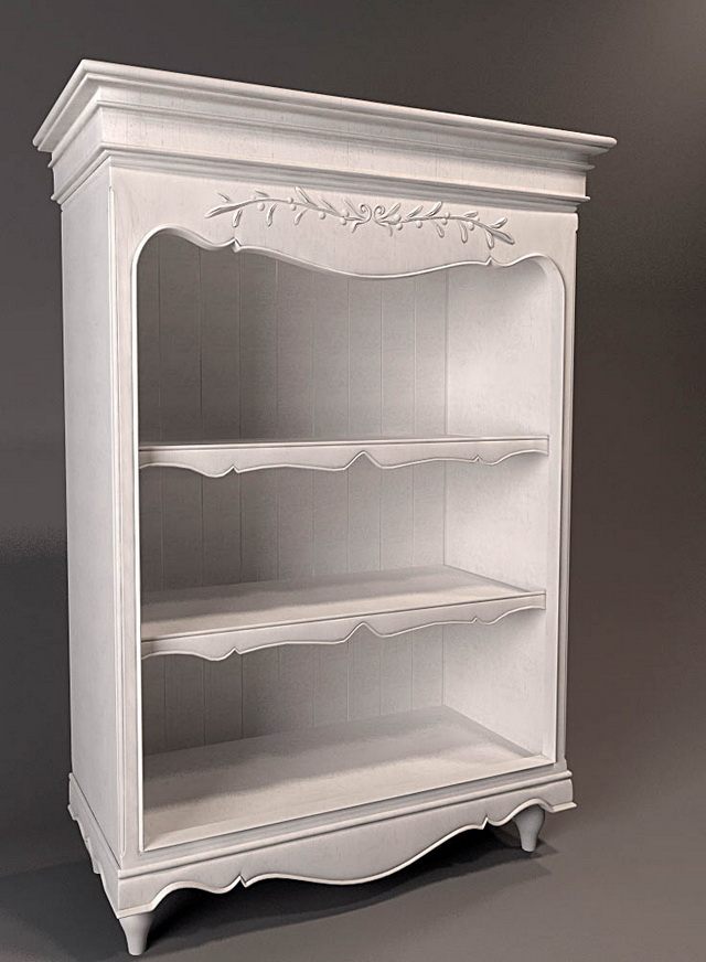 White Antique Bookshelf 3d Model 3dsmax Files Free