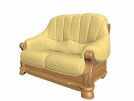 Wooden sofa settee 3d model