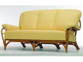 3 seater upholstered sofa 3d model