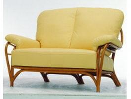 Wood base upholstered loveseat 3d model