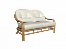 Two-seater upholstered settee 3d model
