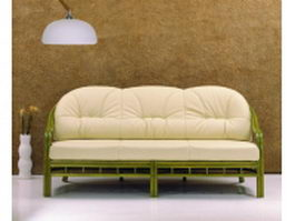3 seater upholstered settee 3d model