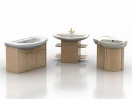 Three kinds of wood washstand 3d model