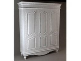 Antique white armoire 3d model