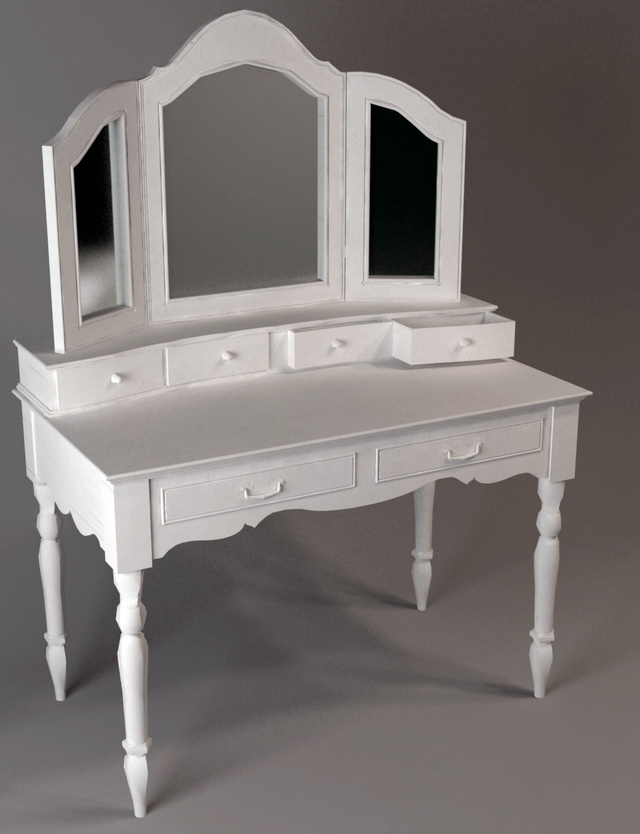 Classic white vanity table 3d model 3dsmax files free download modeling 118 - Ikea simulation dressing ...