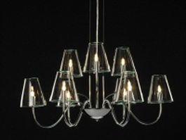 Modern glass chandelier lighting 3d model