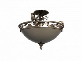 Classic bronze ceiling light 3d model