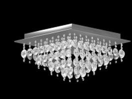 Ceiling mounted crystal chandelier 3d model
