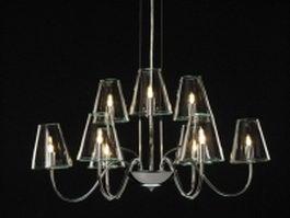 9 light chrome and glass chandelier 3d model