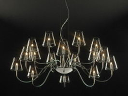 16 lights chrome and glass chandelier 3d model