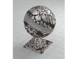 Metallic luster black printed fabric vray material