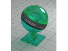 Green polished glass vray material
